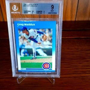 Greg Maddux 1987 Fleer Rookie card, U-68, PSA 9